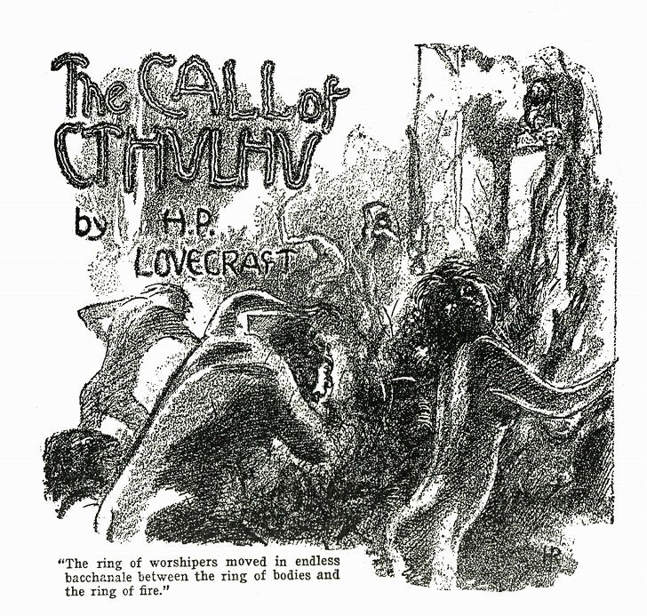 "Illustration by Hugh Rankin of a scene of H. P. Lovecraft's ""The Call of Cthulhu"". First published in Weird Tales (February 1928)."