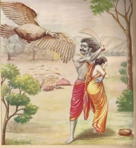 ラーヴァナに誘拐されるシータ(Killing of Jatayu Bird Painting by Balasaheb Pant Pratinidhi, 1916年)