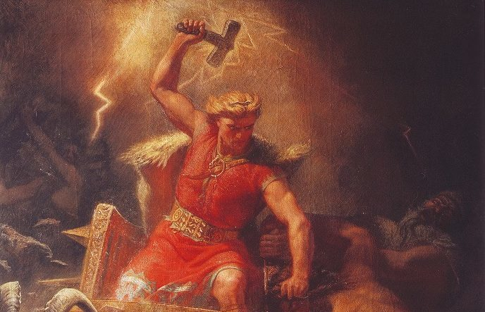 Thor's battle with the Ettins (Thor, the god of Norse mythology.)